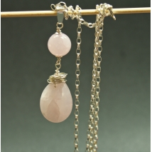 Sterling sliver necklace with rose quartz