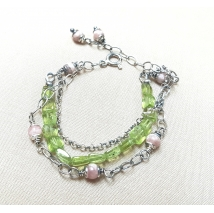 Three row peridot and rose quartz sterling silver bracelet