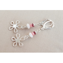 Sterling sliver earrings with pink quartz