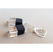 Sterling sliver earrings with onyx cubes