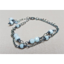 Four row aquamarine sterling silver bracelet