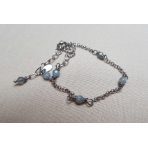 Sterling silver bracelet with grey quartz